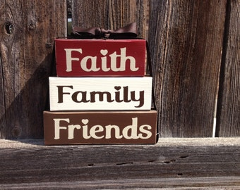 Faith family friends wood stacker blocks-Home Decor--inspirational