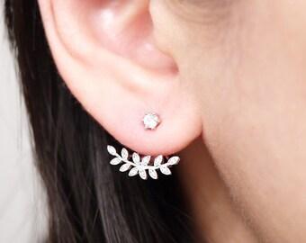 Silver Cubic Zirconia Leaf Ear Jacket Earrings, Two Side Earrings, Ear Jackets, Bridal Jewelry