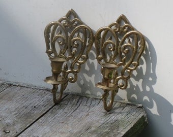 Pair Of Wall Mounted  Brass Candle Holders
