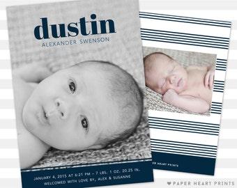 Modern Baby Announcement - Custom Double Sided Birth Announcements - Baby Boy Announcement Photo Card - Dustin
