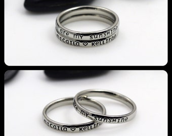 "Hand-Stamped Stacking 3mm *Shiny Finish* ""You Are My Sunshine"" Stainless Steel Name Rings Set"