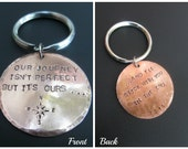 Personalized Key Fob Key Chain - Copper Gift - 7th Anniversary Gift - Custom Gift for Him / Her - Reversible Engraved Key Chain