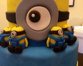 Minion Inspired Cake Toppers - Set of 8