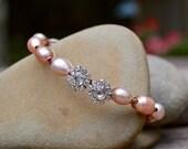 Freshwater Pearls Bracelet . Rhinestones . Boho . Wedding . Hand Knotted . Pyrite