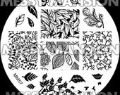 Nail Art Stamping Image Plate MM57 -  Leaf / Leaves Theme