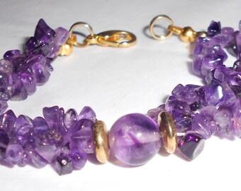 Amethyst chunks bracelet vintage double strand with gold tone closures 1990s vintage handmade bracelet