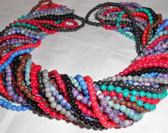 1970s beaded necklaces Lot 13 strands of hippie beads tiny agates and acrylics plastics