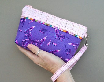 Lucky Dip Clutch:  Tula Pink Butterfly Wings in Blueberry with linear check pink trim