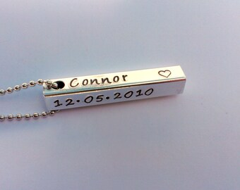 Hand Stamped personalised rectangle bar pendant necklace - mens personalised jewellery - fathers day gift present - gift present for him