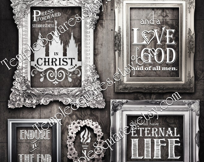 "YW Square printables ""Press Forward with Steadfastness in Christ"" LDS Young Women digital collage bundle temple art poster instant download"