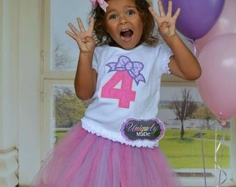 Birthday Number with Bow Applique Shirt, Birthday Shirt, Number with Bow, Birthday Bow, Birthday applique shirt, Girl Birthday Shirt