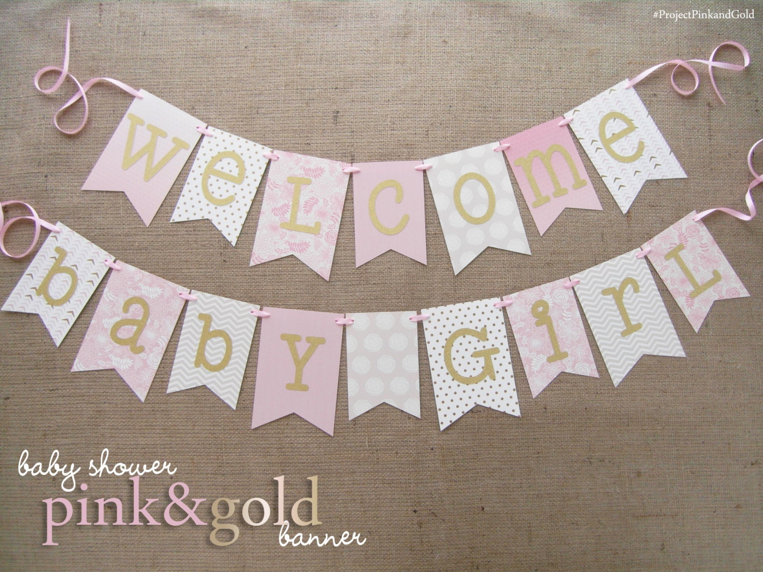 Pink and gold baby shower banner welcome baby girl Baby shower banners