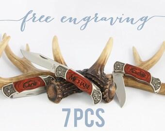 7 PCS Groomsmen Gift Knife Groomsmen Gift Custom Knife, Groomsman Gift Engraved Knife, Best Man Gift, Father of Bride Gift WK2