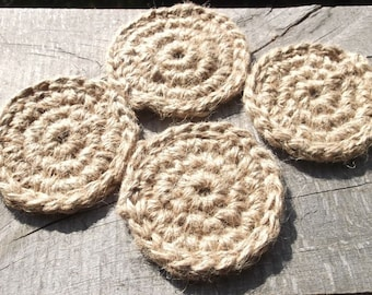 4 Crochet Natural Hemp Coasters,  Decor