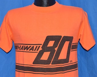 1980 Hawaii Black Orange Wrap Around Vacation Tourist Vintage t-shirt Small