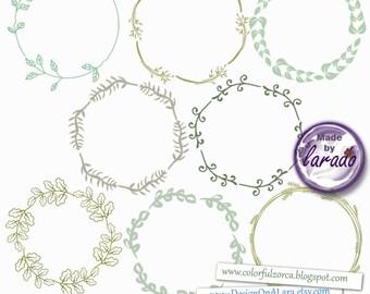 Digital Wreath, Wreath Clipart, Digital Frame, Digital Border, Frames Clip Art, Vine Frames and Borders, wedding fames