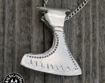 Viking Age Latvian Ax Charm in sterling silver