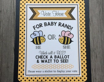 """Baby BEE Gender Reveal """"Vote Here"""" Sign, 8x10 - Personalized, Triple-Layer Sign - Gender Reveal Parties, Baby Shower - BEE theme baby events"""