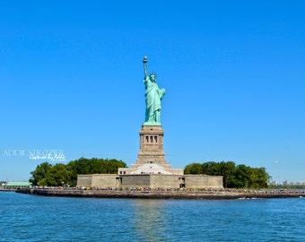NYC Statue of Liberty Print New York City Print / Lady Liberty Manhattan Hudson River New York New Jersey Wall Art