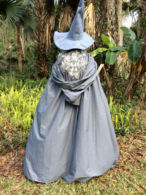 Gandalf The Gray or White Costume Flowing hooded Cape and