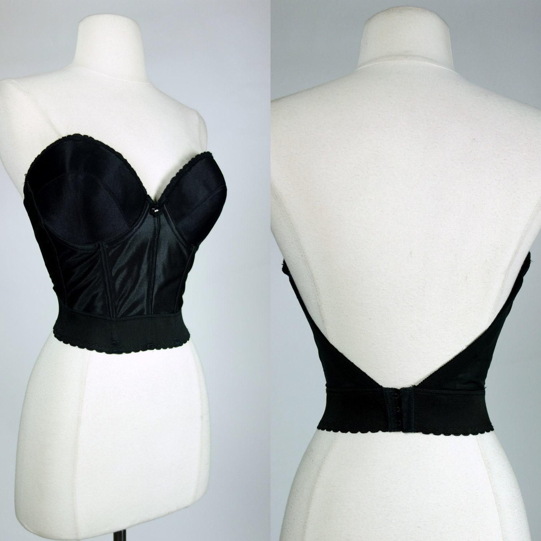 1980s black long line bra strapless low back padded corset