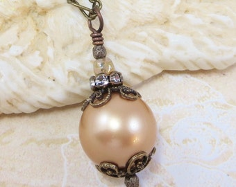 Pearl Necklace Pendant Swarovski Pearl Vintage Style Downton Abbey Victorian