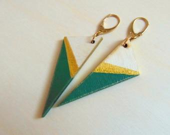 Wood Geometric Earrings , Wood Triangles Earrings, Geometric Jewelry