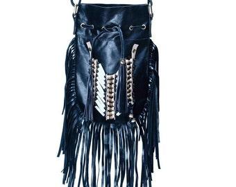 N43P- Black Indian leather Handbag, Native American Style bag. Crossbody bag