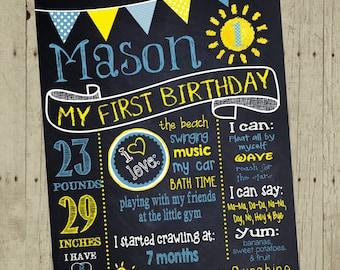 First Birthday Chalkboard, You Are My Sunshine First Birthday Sign, Sunshine Personalized, Sun Chalk board, Sign Printable  16x20 Digital