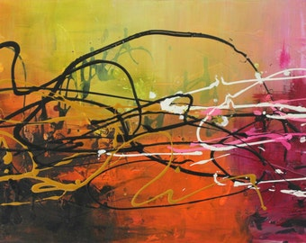 """large ORIGINAL Pink Abstract Painting 48"""" x 24"""" Green orange white pink Modern pink magenta Contemporary  Knife textured fine art-Twister"""