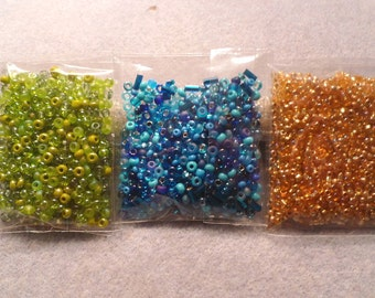 3 Packs Assorted Seed Beads Bead Soup LOT #4 Color Coordinated Green/Turquoise/Blue/Gold Bead Embroidery