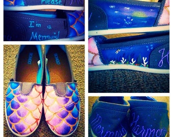 Painted Mermaid Shoes Toms