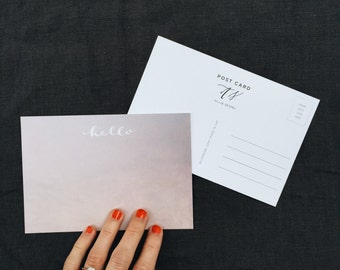 Calligraphy Post Card | Hello | 100% Recycled | Pack of 5