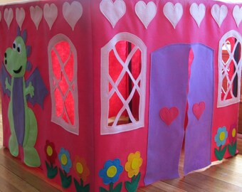 Card Table Playhouse Tent, Pink Princess Castle Tent, Felt Play Tent, Table Tent, Castle, Girls Play Tent, Fort