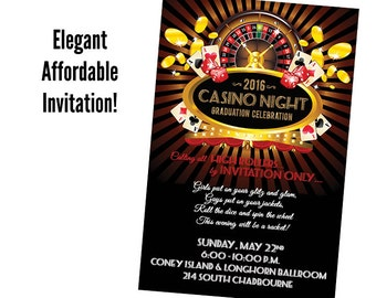 casino party invites | etsy, Party invitations
