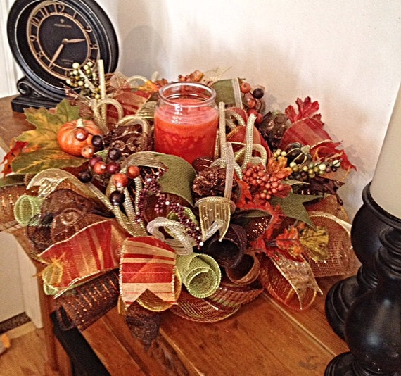 Fall Table Arrangement Deco Mesh Centerpiece Autumn