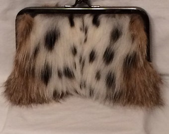 Genuine Bobcat Fur Clutch Purse