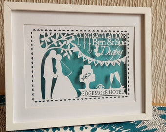 Personalised Wedding papercut in a shadow box frame. Makes a great wedding or valentines gift