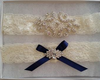 Wedding Garter Set- Crystal Rhinestone on a Ivory Lace-Style G2047NB