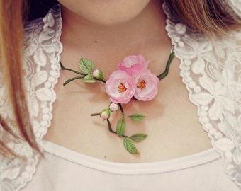sakura necklace, cherry blossom necklace , flowers necklace, bronze, polymer clay, handmade jewelry