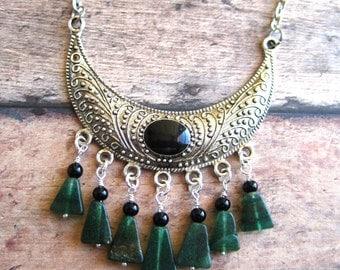 Ornate Tibetan Silver Crescent Bohemian Necklace With 7 Natural Green Aventurine Dangles
