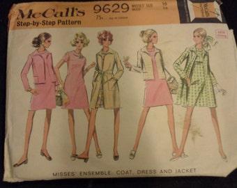 60s dress, jacket, coat McCall's vintage pattern 9629 Size 16