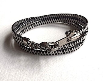 New Thin Black Zipper Wrap Bracelet