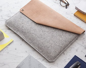 "Sleeve for 11"" MacBook Air of leather & felt [G]"