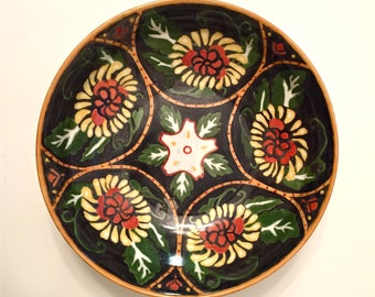 Beautiful Hand-Decorated Lusterware Folk Art Bowl Made in Czechoslovakia