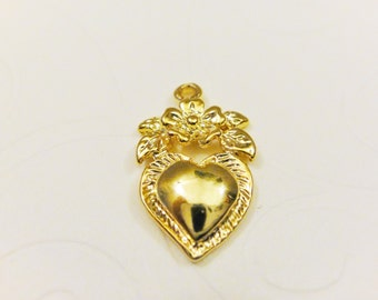 Vermeil heart charm or pendant, 18k gold over 925 sterling silver heart with flower charm, or pendant, shiny gold  heart 1 pc.