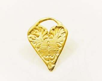 18k gold over 925 sterling silver heart charm or pendant 1 pc., vermeil heart charm, heart charm, pendant, matte gold