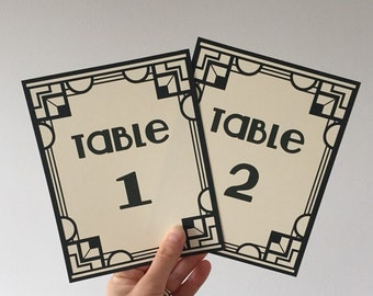 Gatsby theme Wedding Table number cards - Art Deco, vintage style party name