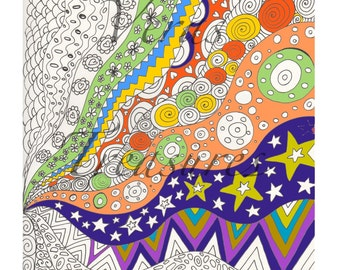 Colouring Page for Adults Art Therapy, relaxation, wavy lines and patterns of all shapes and sizes.