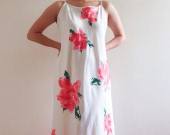 90s white floral maxi dress